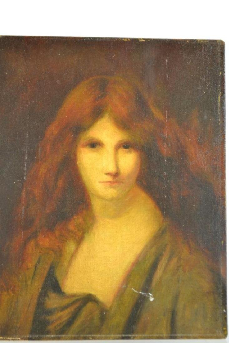 19th C Oil on Board, Red Young Headed Woman