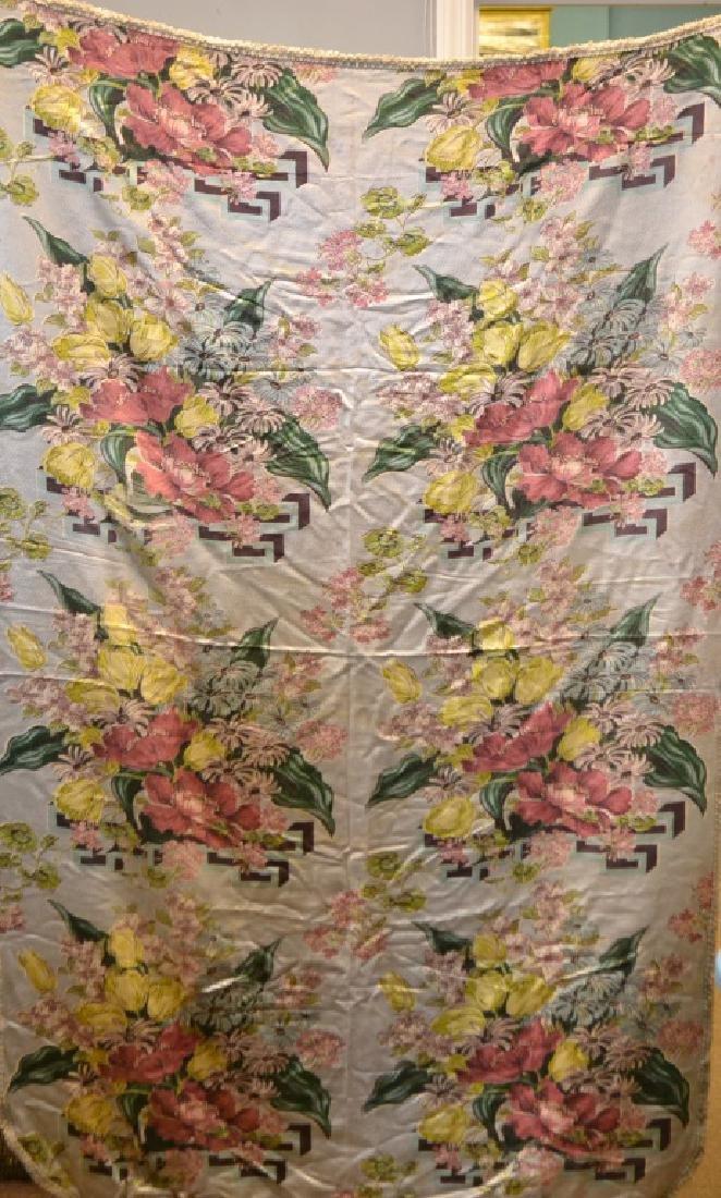 1920's Silk Floral Bar Cloth Type Tablecloth