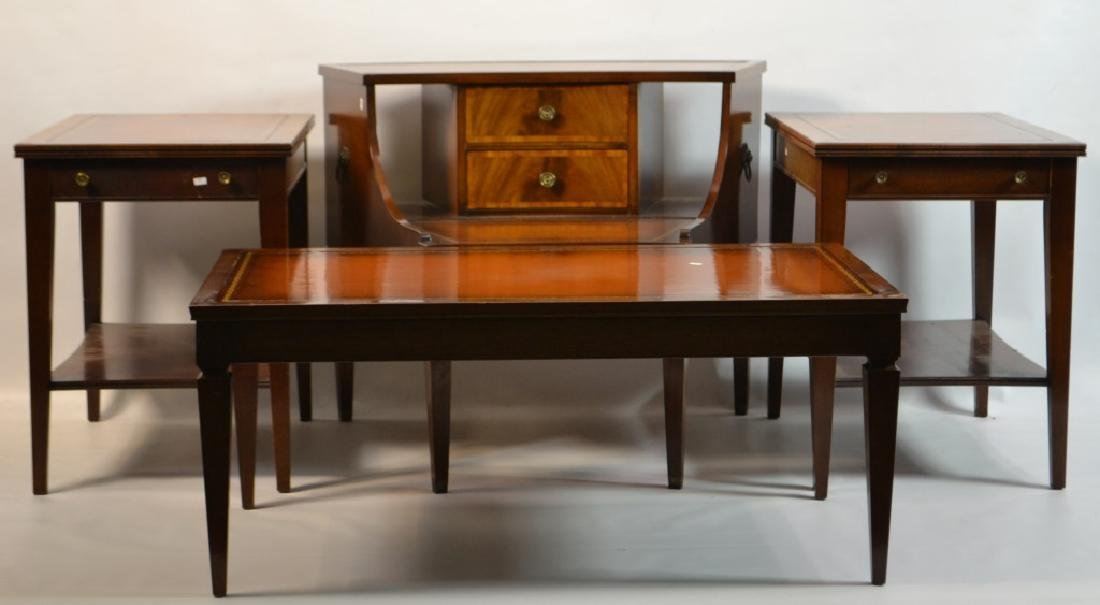 Grouping of Mahogany Leather Top Tables