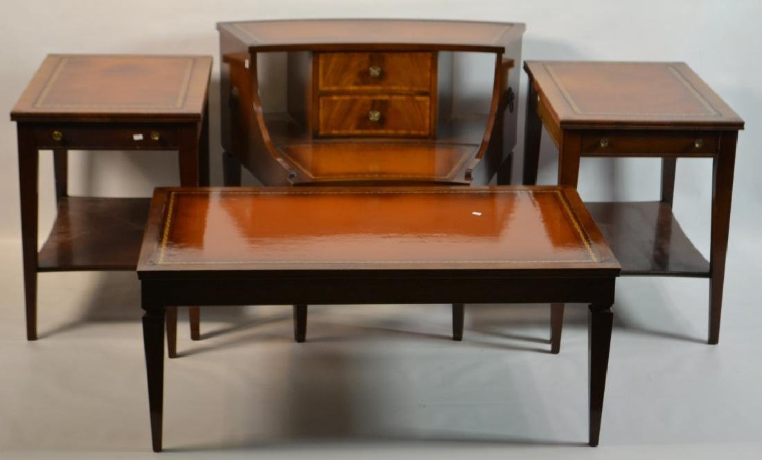 Grouping of Mahogany Leather Top Tables - 2
