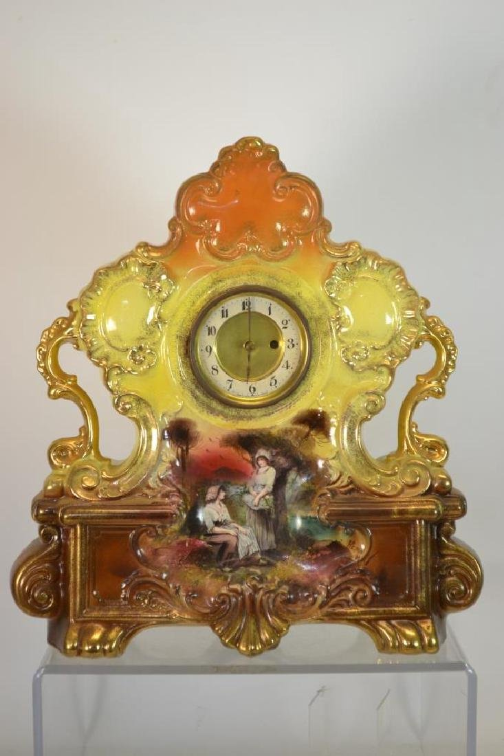 Large Pottery Hand Painted Clock