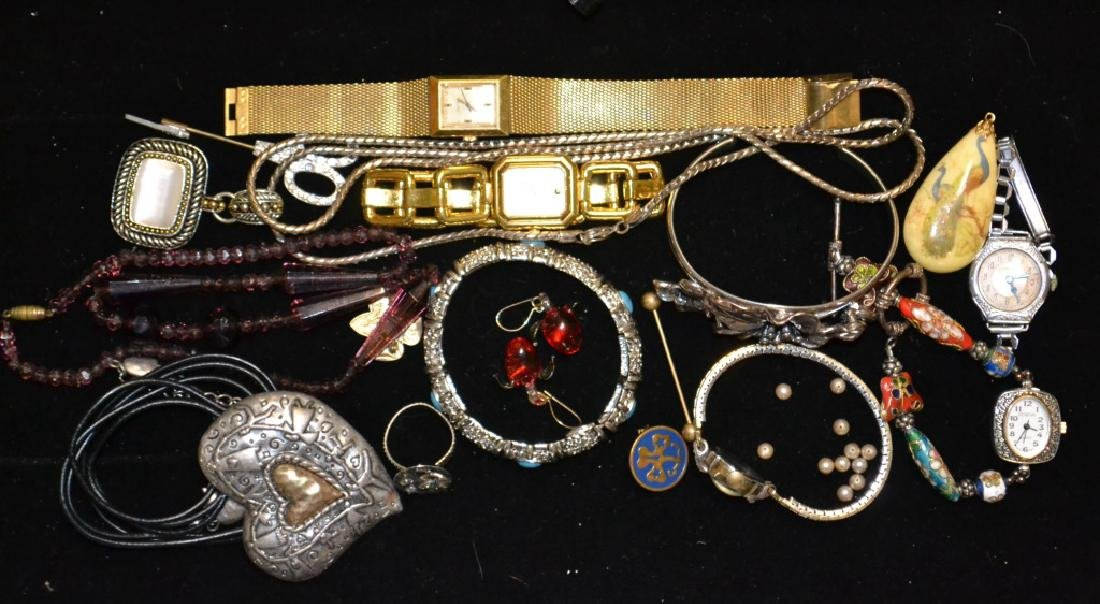 Grouping of Costume Jewelry & Watches