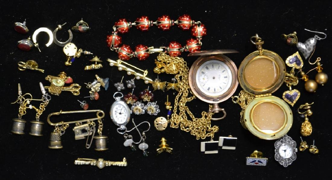 Grouping of Gold Tone Costume Jewelry & Pocket Wat