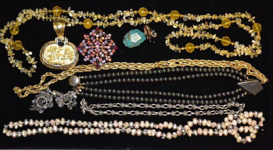 Joan Rivers Pin & Citrine Beaded Necklace & Others