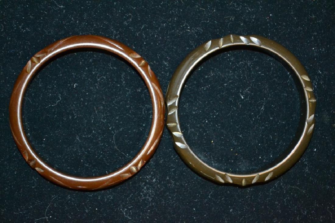Two Dark Brown Bakelite Bangle Bracelets