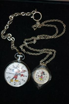 Two Bradley Mickey Mouse Pocket Watches