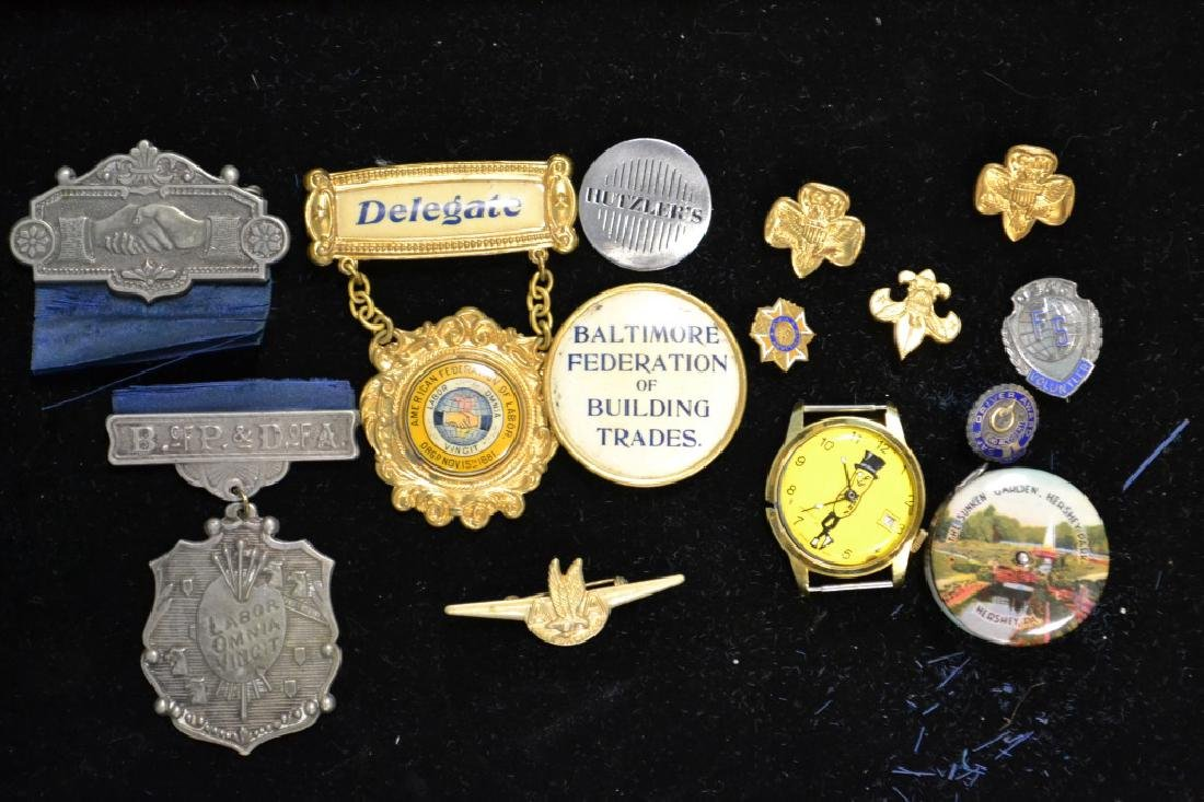 Grouping of Vintage Badges, Medals & Other Items