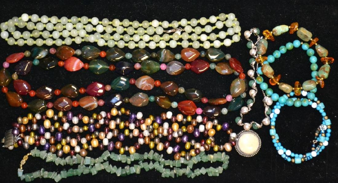 Jade Grouping of Necklaces & Bracelets