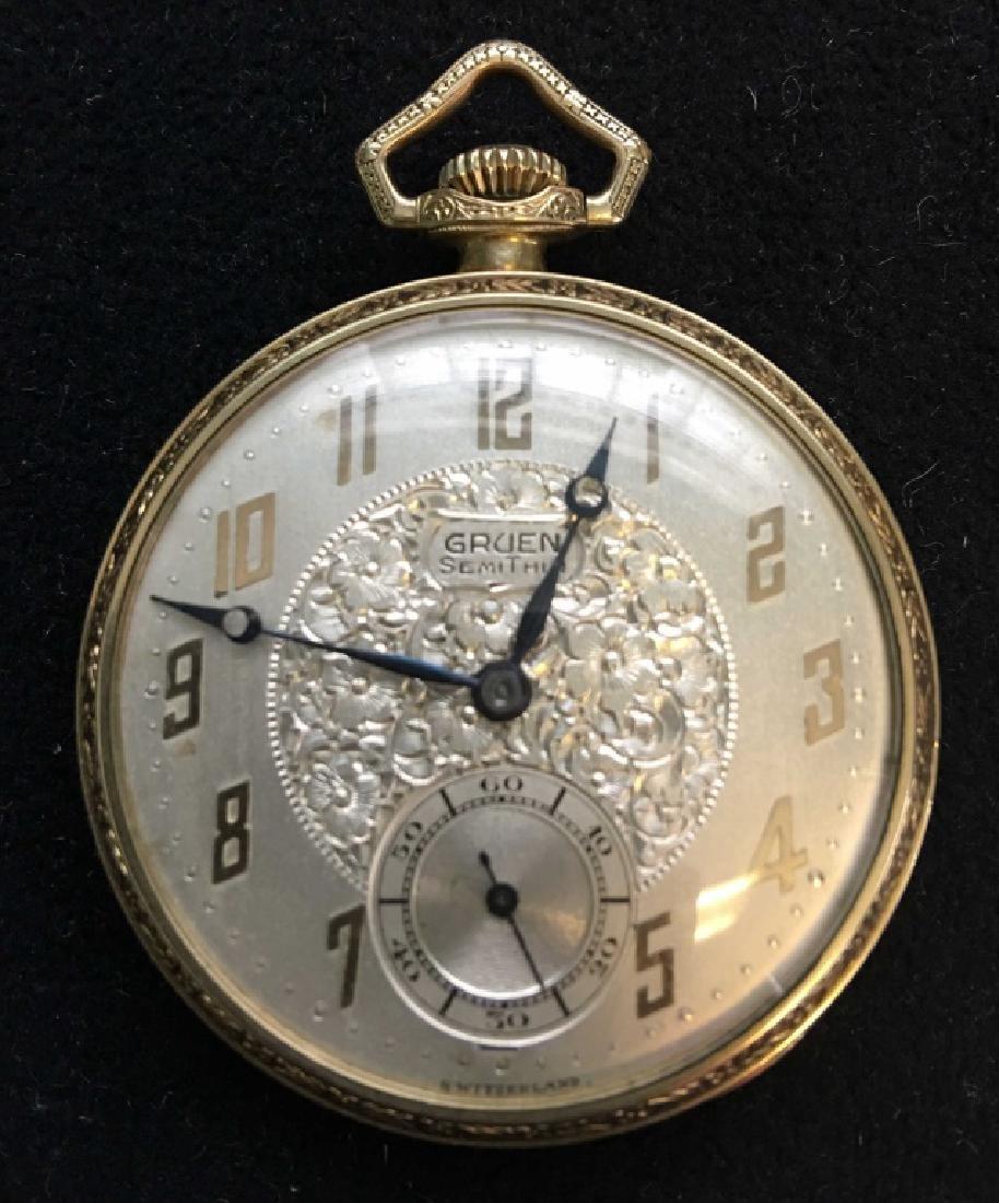 Gruen Semi Thin Open Face Pocket Watch, GF
