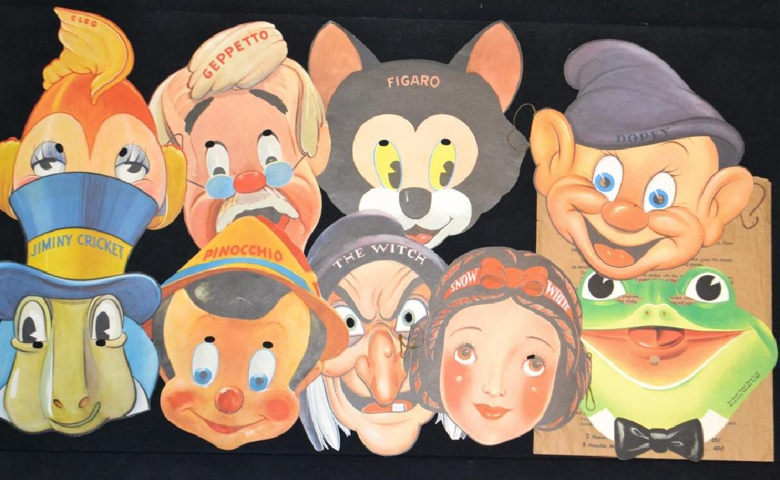 1939 Collection of 9 Pinocchio & Snow White Masks