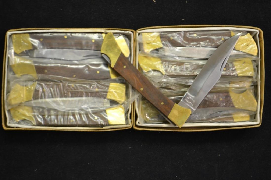 Approx. 2 Dozen Wood & Brass Pocket Knives