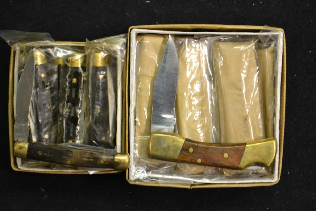 Approx. 24 Wood & Brass Handled Pocket Knives