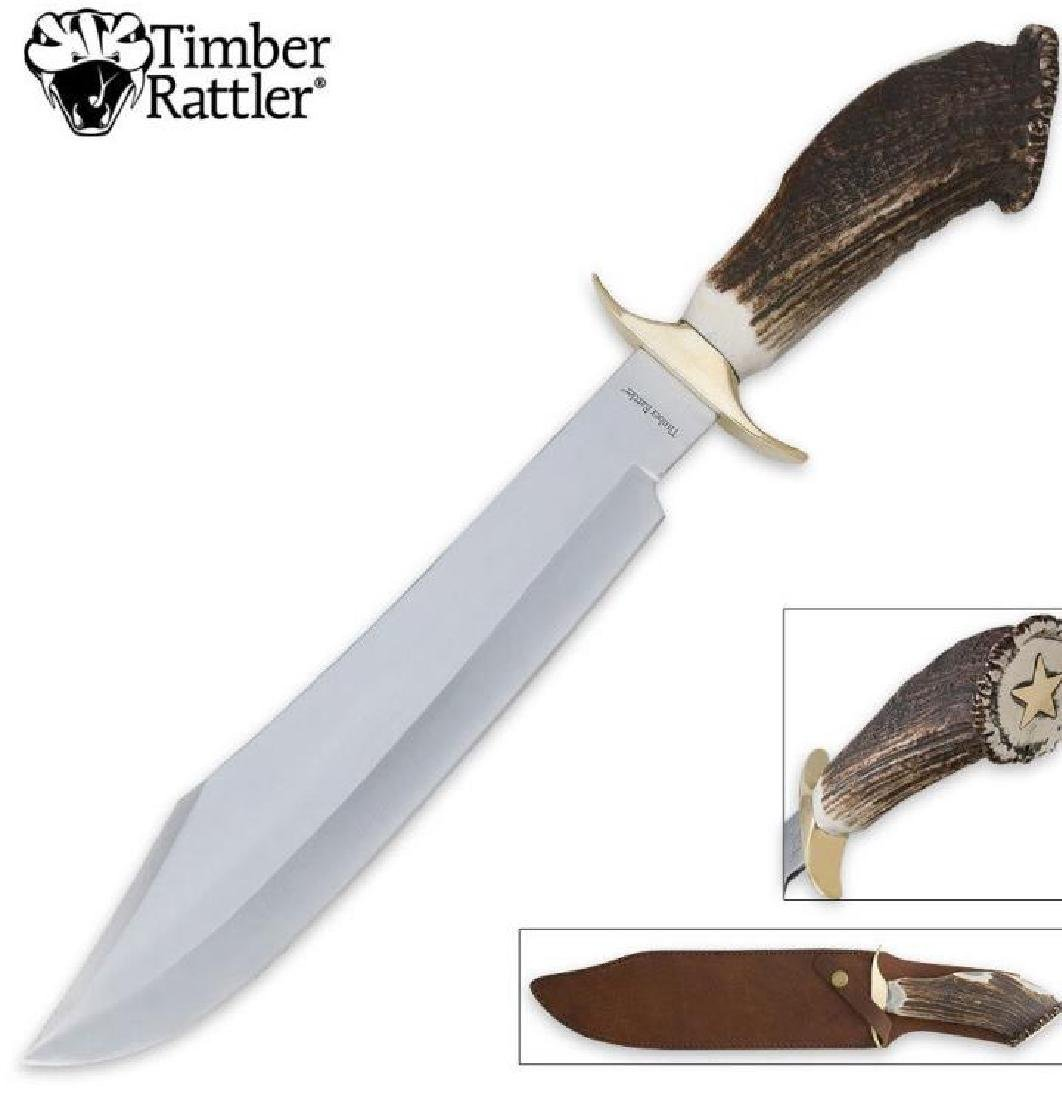 Timber Rattler Stag Handle Bastard Bowie Knife