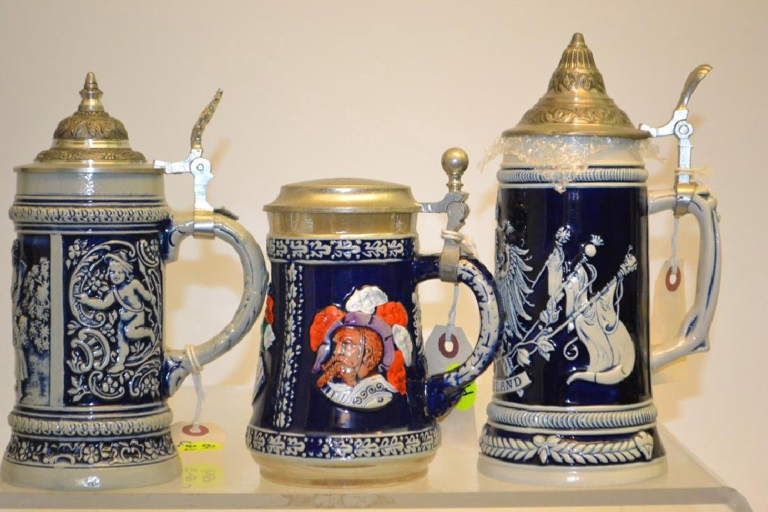 Grouping of 3 Stoneware Steins