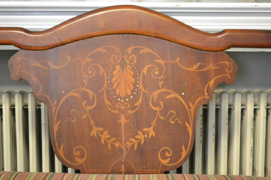 Early 20th C Inlaid Maple Settee