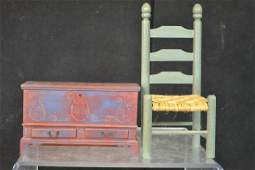 Doll Scale PA Dutch Painted Blanket Chest & Chair