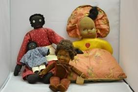 Four Cloth Face Black Americana Dolls