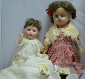 Two Late 19th Early 20th C Dolls