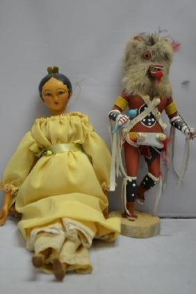 Two Wooden Doll Grouping