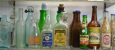 Collection of 20 Vintage Alcohol & Soda Bottles