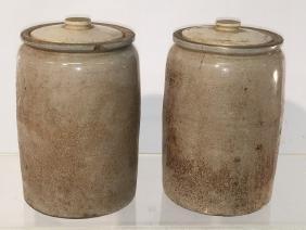 Pair of Half Gallon Stoneware Crocks with lids