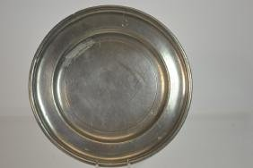 18th C English Pewter Single Reed Plate