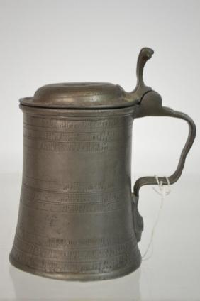 Antique European Pewter Beer Stein