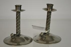 Matched Pair of Hand Crafted Pewter Candlesticks