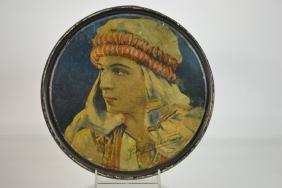 Tin litho Box, w/ Image of Rudolph Valentino