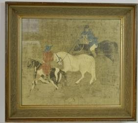 Chinese print of Men Catching a Horse