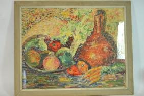 Still Life Painting of Fruit & Vegetables, Signed