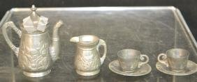 19th C Pewter Dollhouse Accessories 6 pcs.