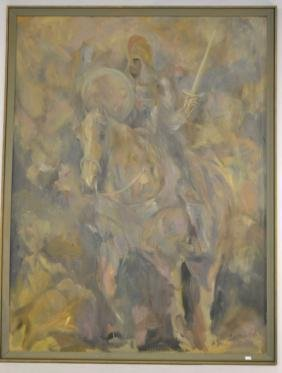 Abstract Modernist Oil Painting of Knight on Horse