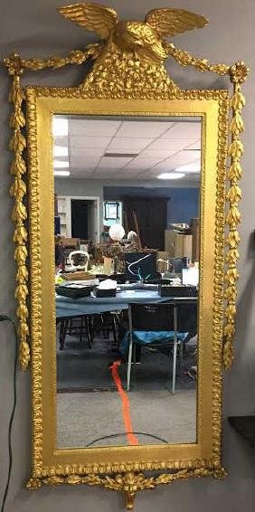 Late 19th C Gilded Hall Mirror