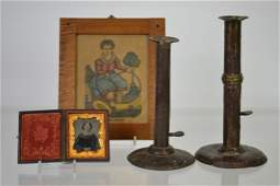 B Bramell Print Photo and two tin Candle Sticks