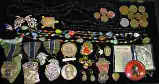 Misc. Costume Jewelry, Coins, Medals Grouping