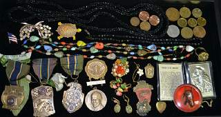 Misc Costume Jewelry Coins Medals Grouping