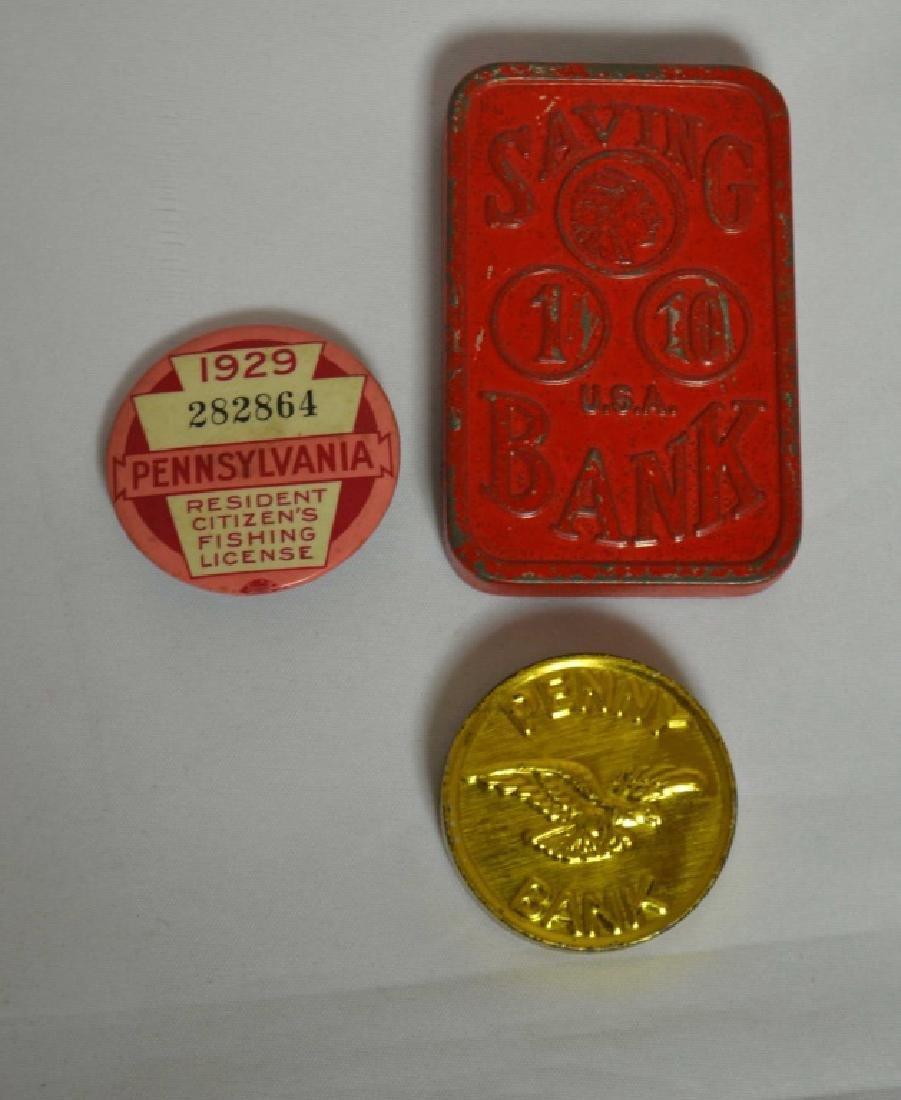1929 PA Fishing License & Two 20th C Banks