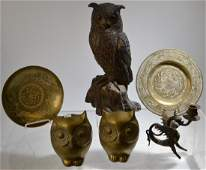Six Piece Grouping of Brass and Ceramic