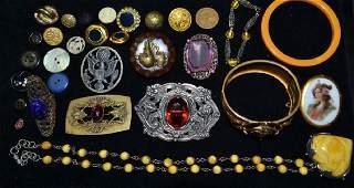 Victorian Bakelite  Costume Jewelry Lot