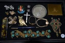 Trifari, Rhinestone & Costume Jewelry Grouping