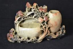 Ornately Carved Soapstone Brushpot