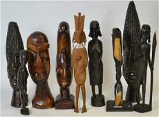 Nine Wooden African Carved Items
