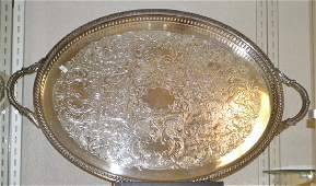 Large Silver Plate Serving Tray