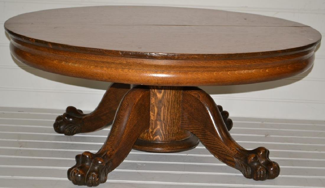 Antique Coffee Table.Antique Oak Claw Foot Coffee Table