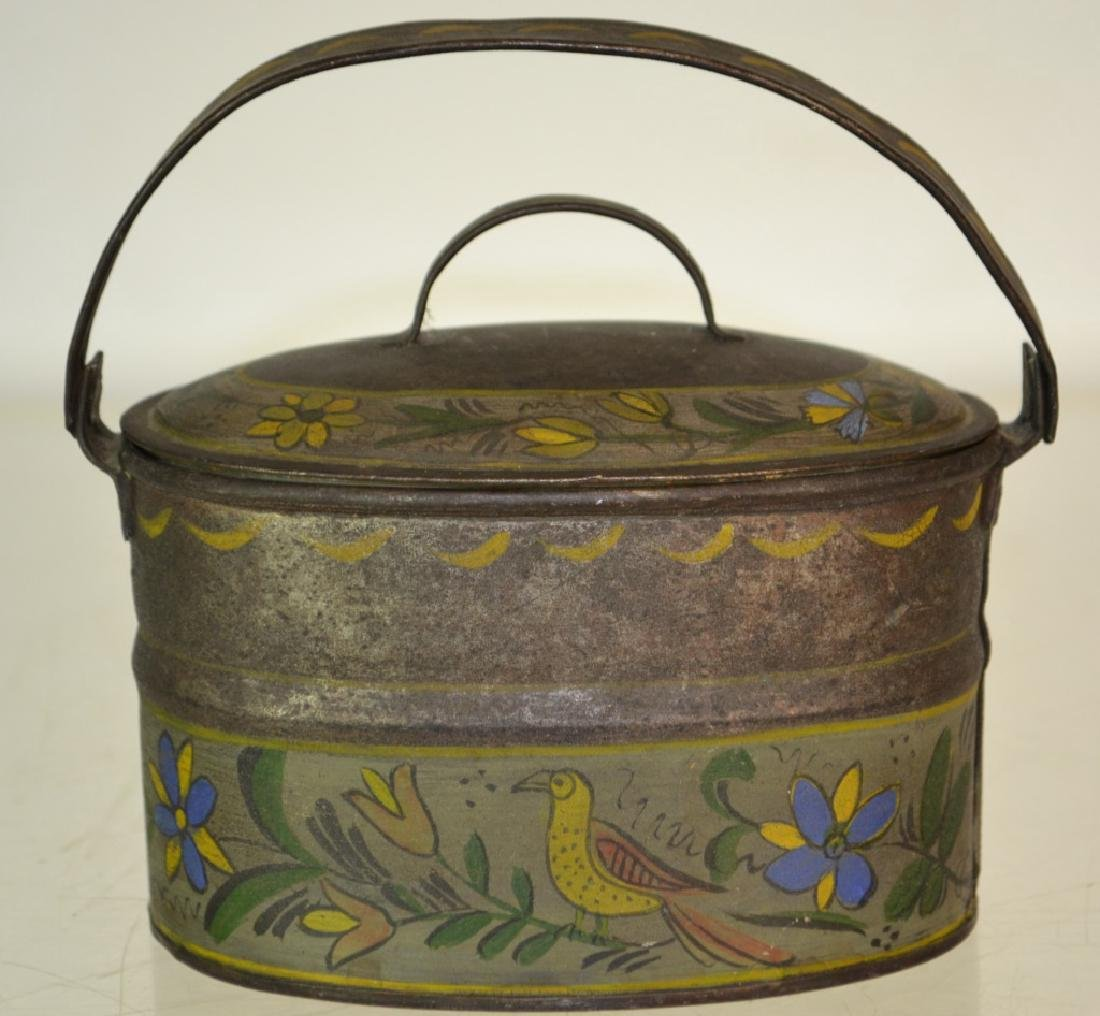 Outstanding Painted Toleware Berry Pail