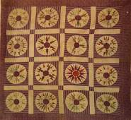 """Circle and Star Quilt Measures 76""""h x 80""""w. Mid 19th"""