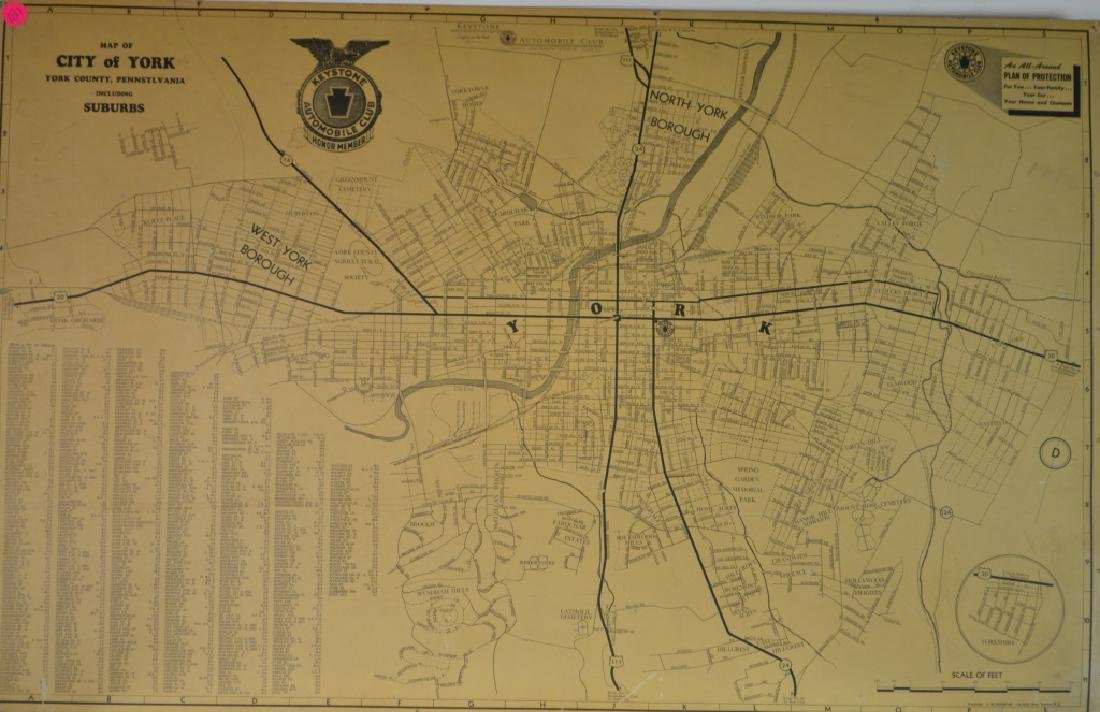 Keystone Auto Club Map of York City Pre 1959 map.