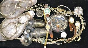 Sterling and Wristwatch Grouping Including a large