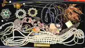 Costume Jewelry Grouping Including Victorian hat pins